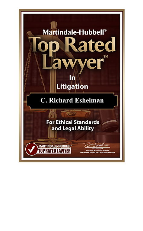 Image of an award for the Top Rated Lawyer for Richard Eshelman from Martindale Hubbell